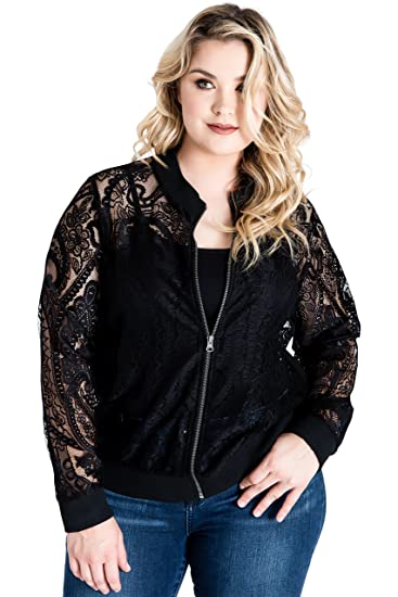 d331565f5 Standards & Practices Plus Size Women Peek-A-Boo Black Lace Zipper Bomber  Jacket