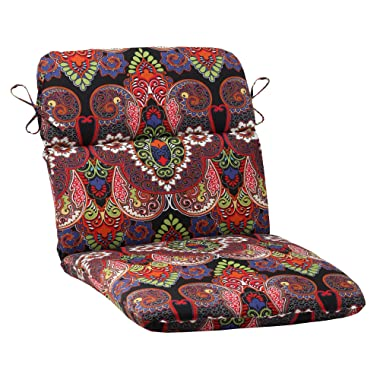 Pillow Perfect Outdoor Marapi Rounded Chair Cushion, Black