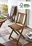 SAM Gartenstuhl Farum, Akazie-Holz, Holzstuhl, ideal für Balkon Garten Terrasse, zusammenklappbar, FSC® 100% zertifiziert
