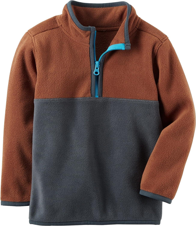 Carters Boys Brown and Navy Colorblock Fleece Half Zip Pullover 9m