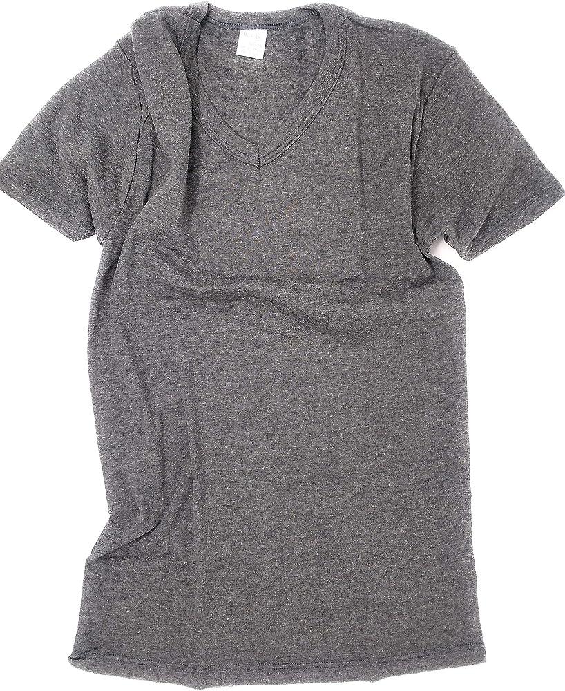 Camiseta algodón Cuello de Pico Gris Oscuro Manga Corta Talla M ...
