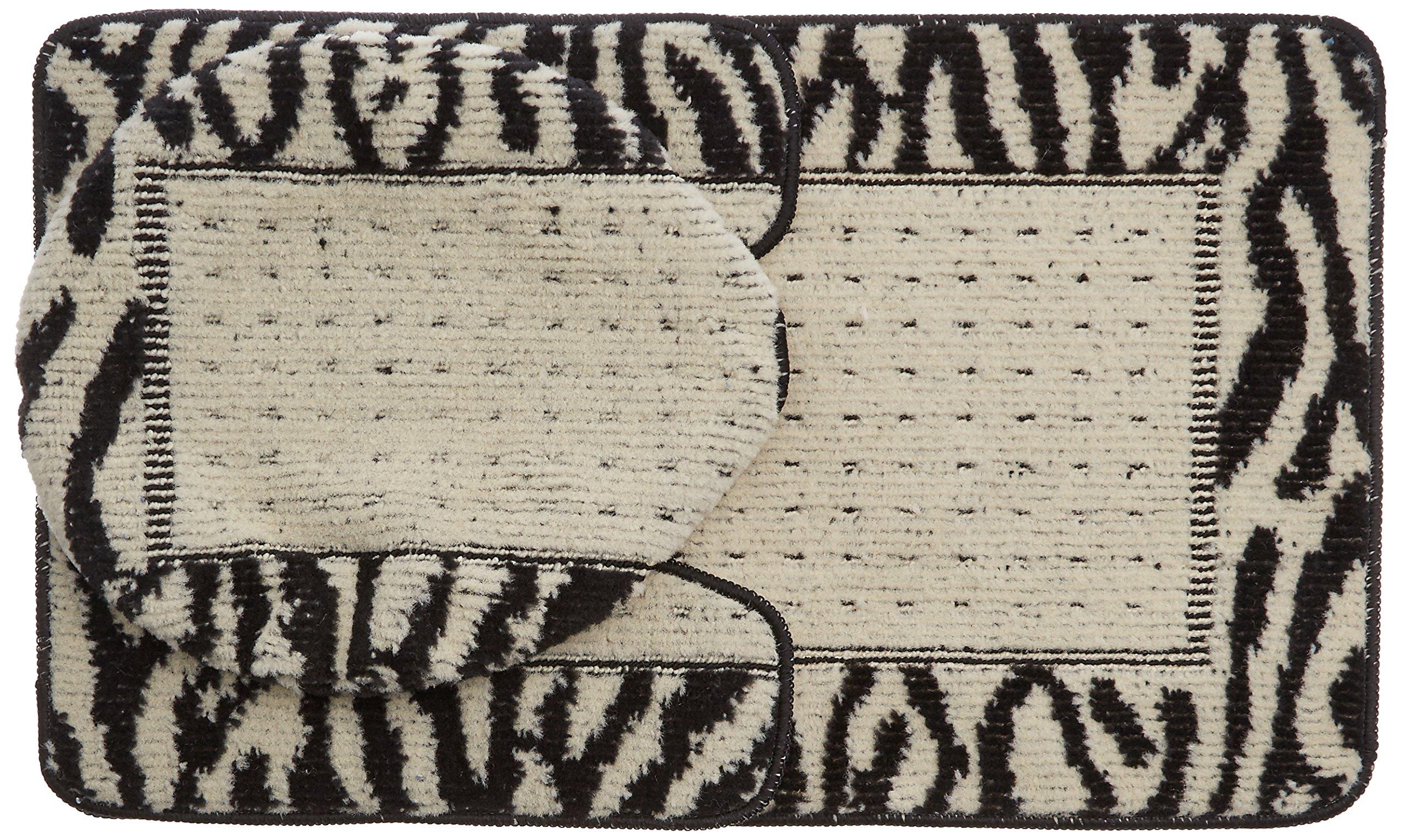 Dainty Home 3-Piece Animal Design Rug/Contour/Lid Cover Bath Set, Black/Ivory