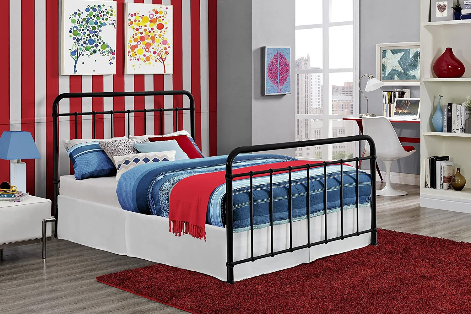 DHP Brooklyn Metal Iron Bed w/ Headboard and Foot-board
