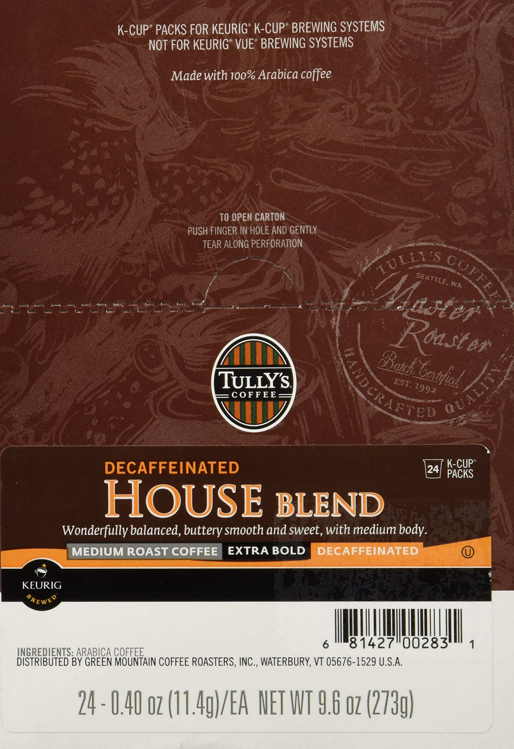 Tully S Coffee House Blend K Cup Portion Pack For Keurig K Cup Brewers 24 Count Amazon Com
