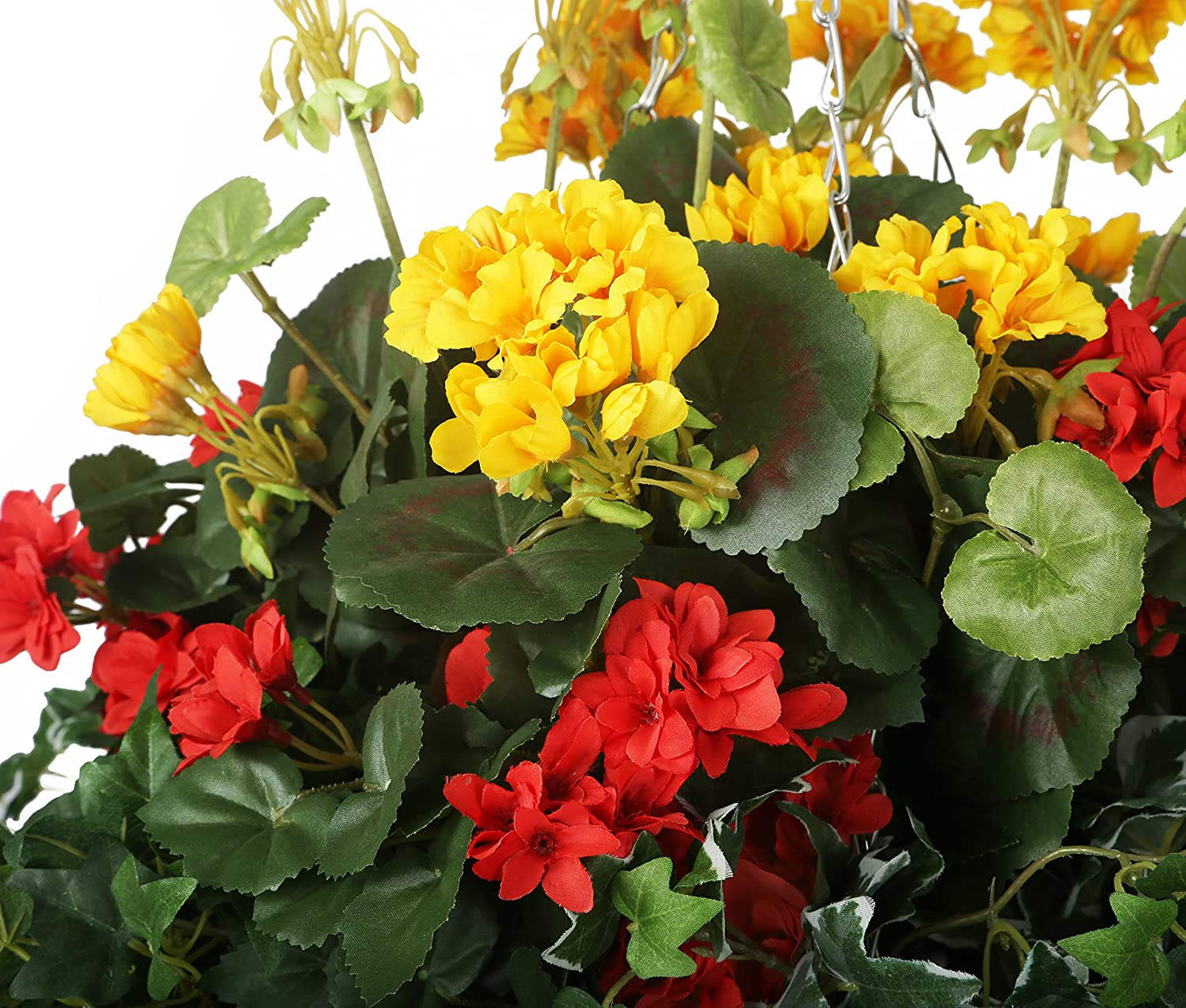 Closer2nature Artificial Red Begonia And Yellow Geranium Display In