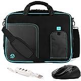 VanGoddy Pindar Aqua Blue Trim Messenger Bag w/USB