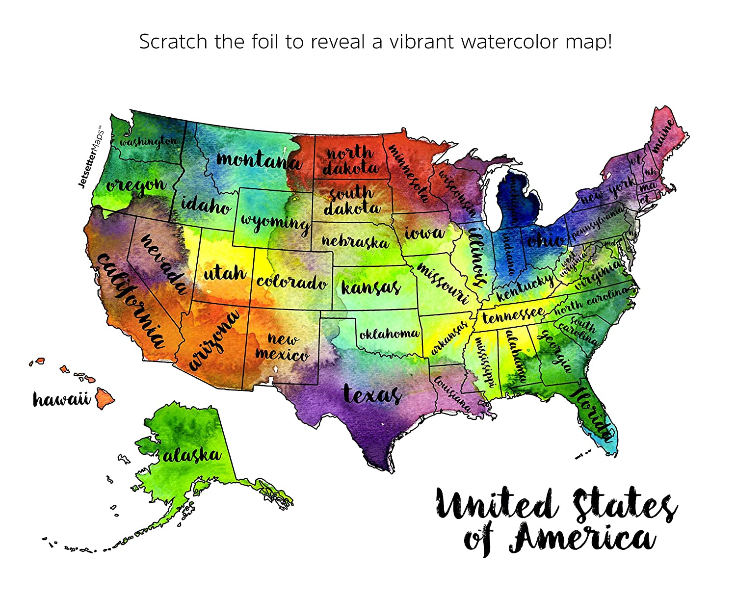 Amazon jetsettermaps scratch your travels united states of amazon jetsettermaps scratch your travels united states of america usa us watercolor art map 12x18in poster office products gumiabroncs Image collections