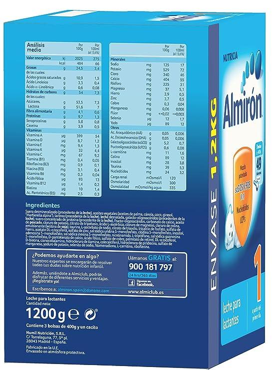 Almirón 1 Leche de inicio en polvo a partir del primer día - 1,2 kg: Amazon.es: Amazon Pantry