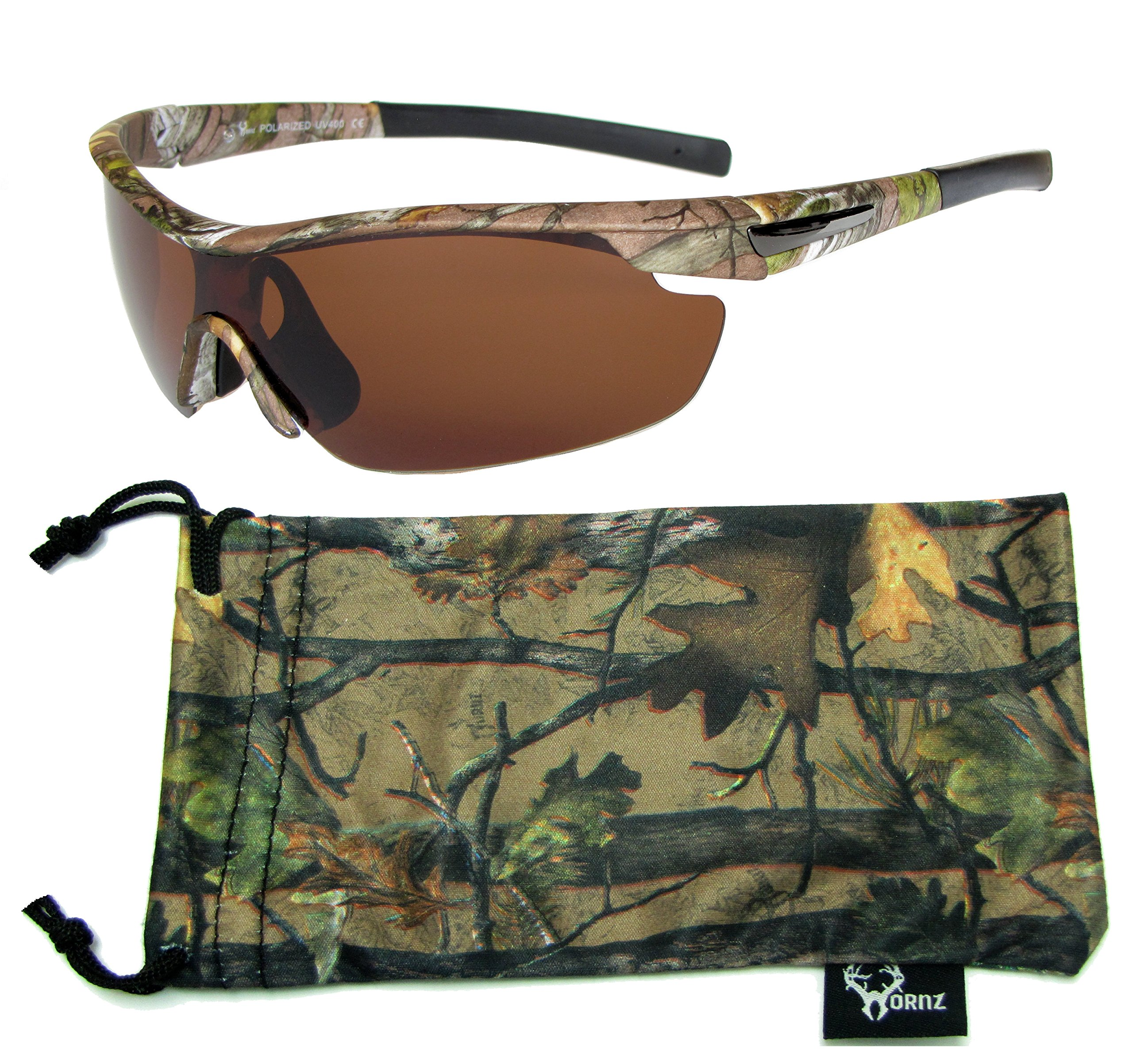 Hornz Brown Forrest Camouflage Polarized Sunglasses for Men Wrap Around Sport Frame & Free Matching Microfiber Pouch - Brown Camo Frame - Amber Lens