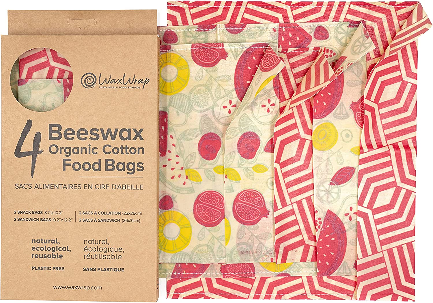 """WaxWrap Waxed Organic Cotton Resealable Washable Beeswax Food Bags Set of 4 Perfect for Reusable Sandwich Bag & Covering Dishes 100% EcoFriendly 2 Snack Bags 8.7"""" x 10.2"""" 2 Sandwich Bags 10.2"""" x 12.2"""""""