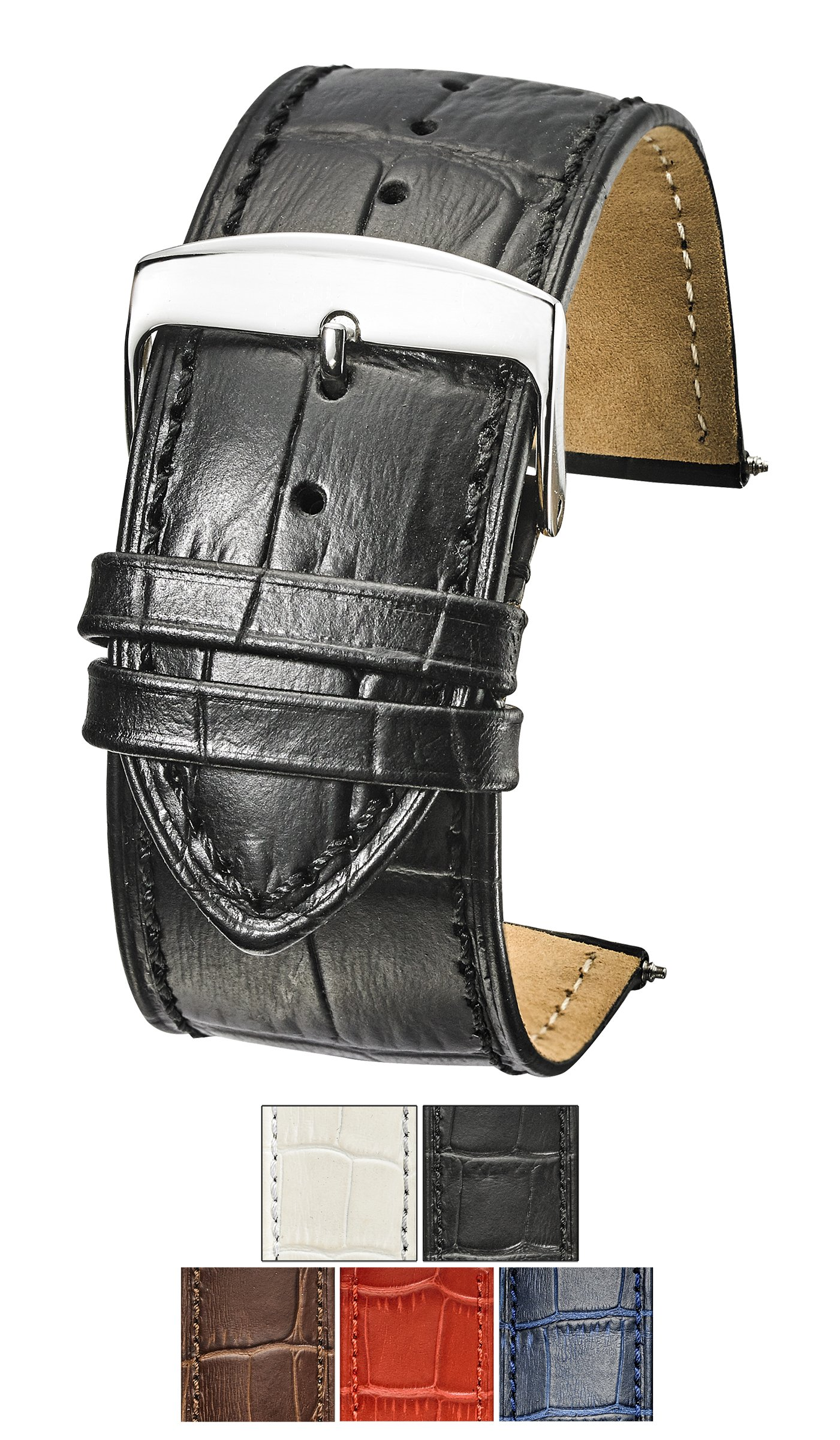 Genuine Alligator Grain Stitched Leather Watch Band (fits Wrist Sizes 6-7 1/2 inch) - Black - 26mm