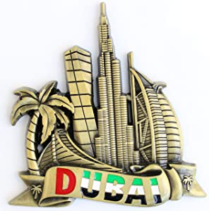 Dubai Metal Fridge Magnet Unique Design Home Kitchen Decorative Travel Holiday Souvenir Gift, Stick Up Your Lists Photos on Refrigerator