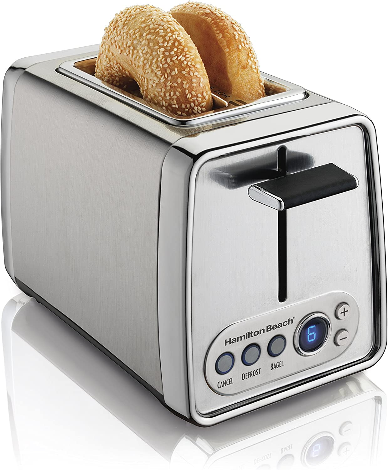 Hamilton Beach Modern Chrome Digital 2-Slice Extra-Wide Slot Toaster with Bagel and Defrost Settings, Shade Selector, Toast Boost, Slide-Out Crumb Tray, Auto-Shutoff and Cancel Button (22792)