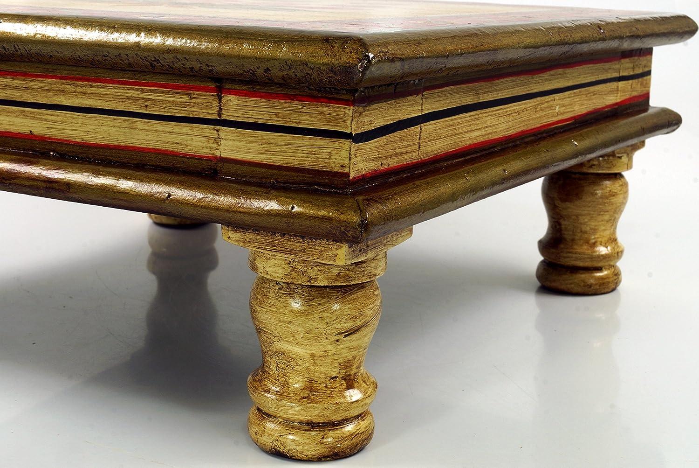 Acqua Giglio Verde//rosso 16x38x38 cm Tavoli Tavolini di Base Mini Tavolo Guru-Shop Tavolino Dipinto Panca da Fiori