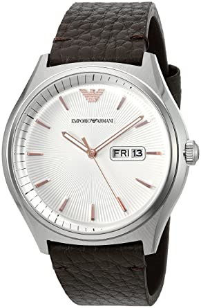 67cf3d5bef3 Amazon.com  Emporio Armani Men s AR1999 Dress Brown Leather Quartz ...