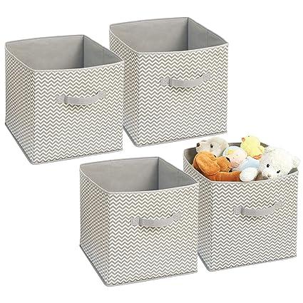 mDesign Juego de 4 cajas organizadoras en tela - Organizadores para armarios y cuartos de niños