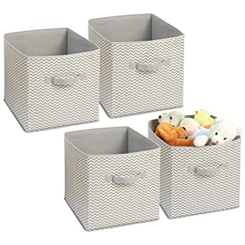 mDesign Soft Fabric Closet Storage Organizer Bin Box - Front Handle, for Cube Furniture Shelving