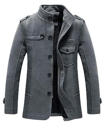 b0e82f4e229 RongYue Men s Winter Thicken Pea Coat Wool Blend Single Breasted Military Peacoat  Jacket