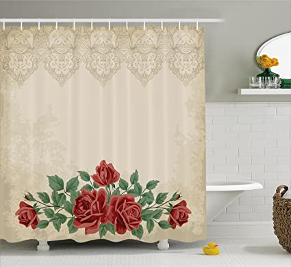 Ambesonne Shabby Chic Shower Curtain Vintage Glamour Background With Red Rose Love And Attraction Symbol