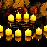 PK Green Set of 12 Amber LED Battery Operated Flameless Tealights Electric Fake Candles + Spare Batteries by