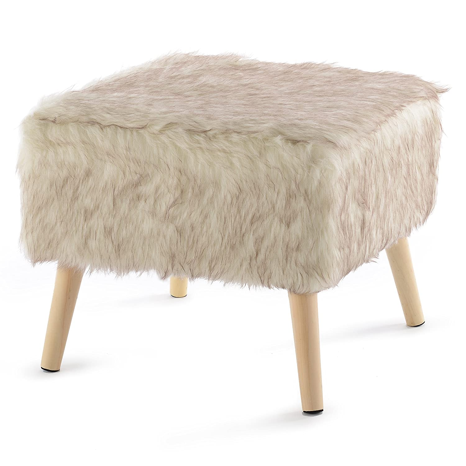 Cheer Collection Square Ottoman with Wood Legs