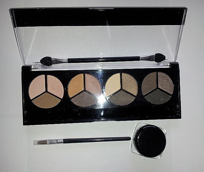 12 Color Eyeshadow Smokey Eye Set Black Eyeliner Gel Water Proof Included with Brush Set