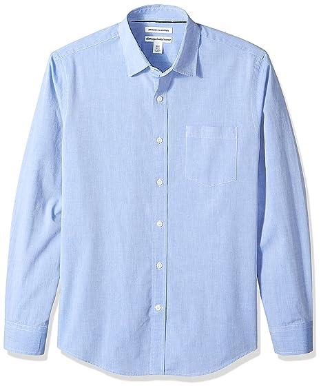 304d437f07 Amazon Essentials Men's Slim-Fit Long-Sleeve Solid Casual Poplin Shirt