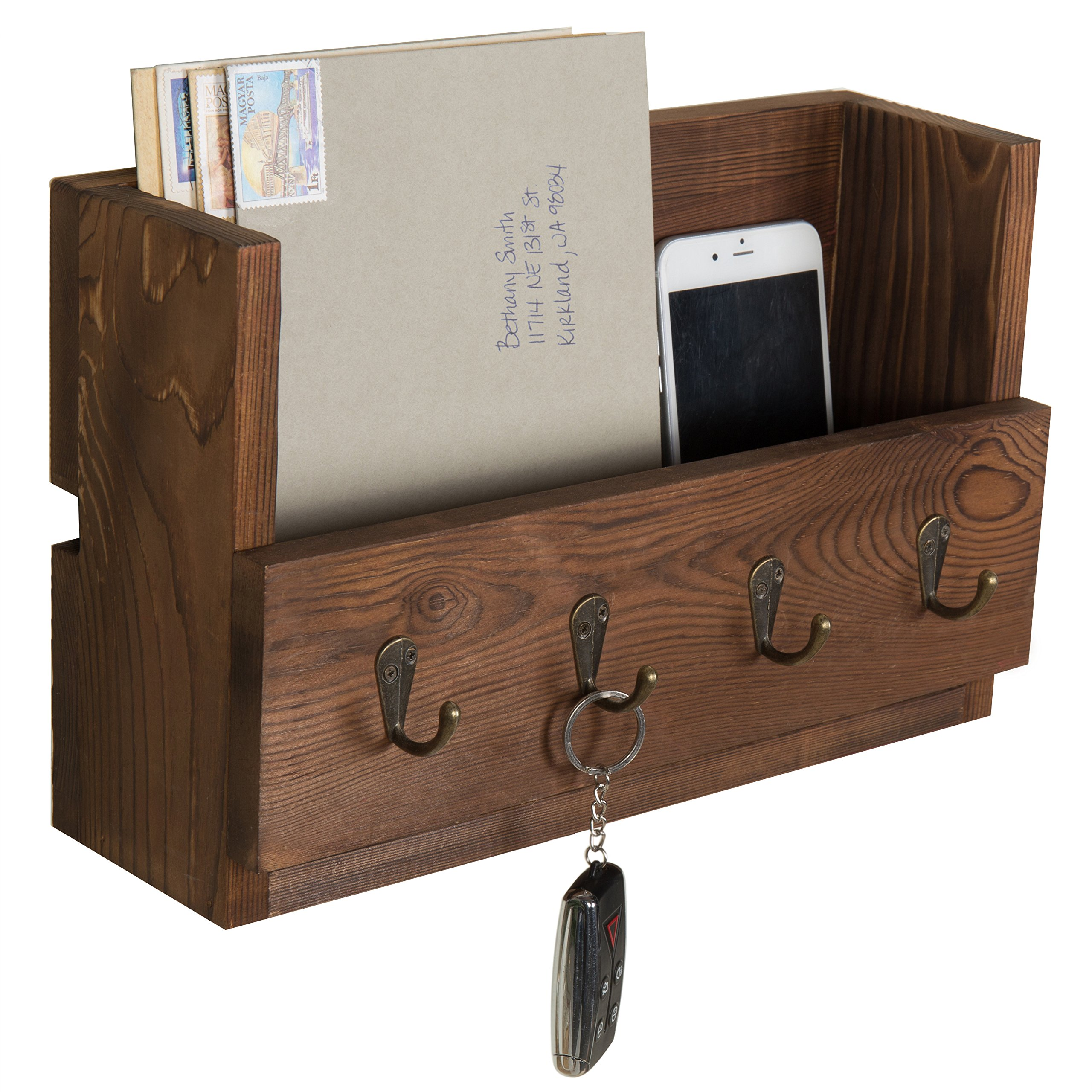 MyGift 4-Hook Rustic Wood Wall-Mounted Key & Letter Organizer Rack by MyGift