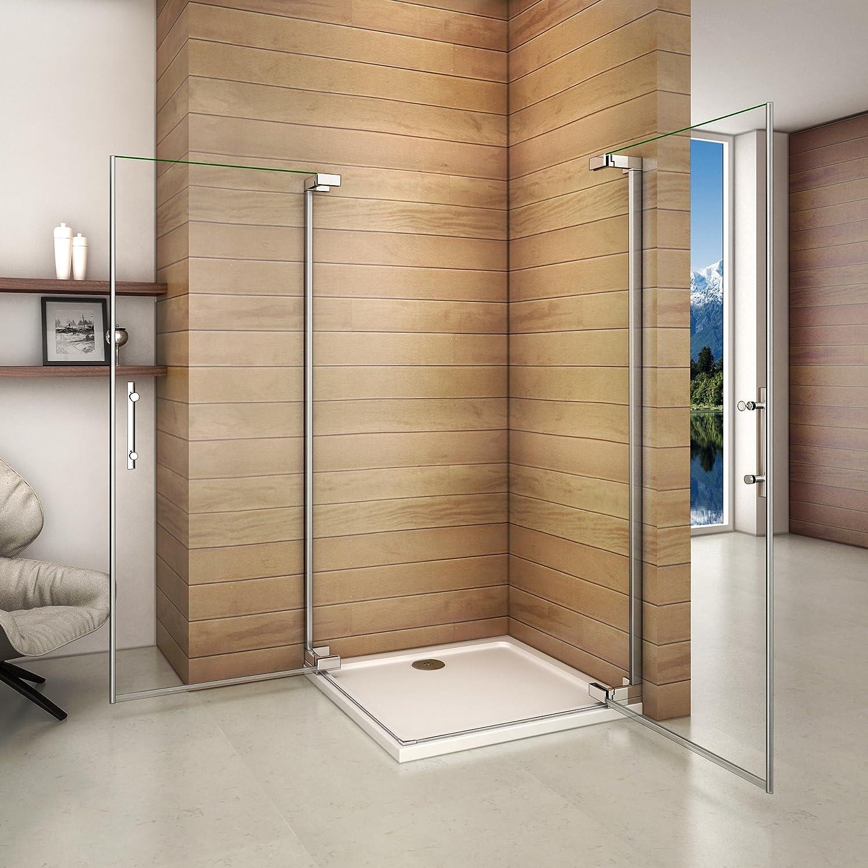 Cabina de ducha de esquina, mampara de ducha con puerta batiente ...