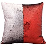 Reversible Sequins Mermaid Pillow Cases 4040cm with magic mermaid sequin (Traffic Red and sliver)