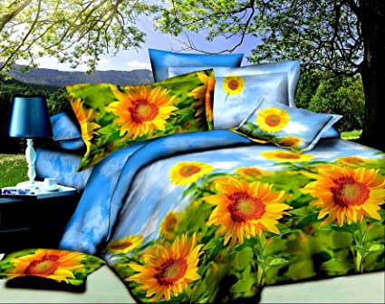 Superb Bednlinens 3d Modern Style Sun Flower 4 Piece Bedding Sheet Set (012) (King