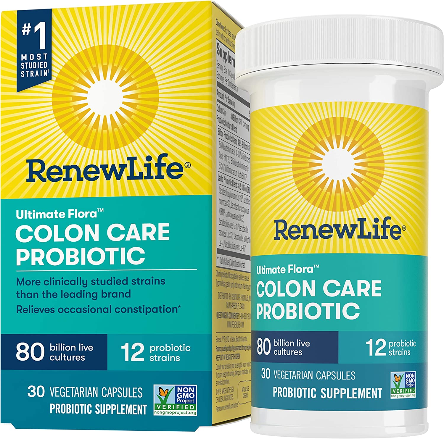 Renew Life Adult Probiotic - Ultimate Flora Colon Care Probiotic Supplement - Shelf Stable, Gluten, Dairy & Soy Free - 80 Billion CFU - 30 Vegetarian Capsules (Pack May Very) (Package May Vary)