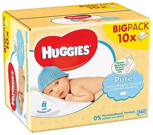 182 opinioni per Huggies Pure Salviette Umidificate per Bambini, 10 Pacchi da 56 Pezzi