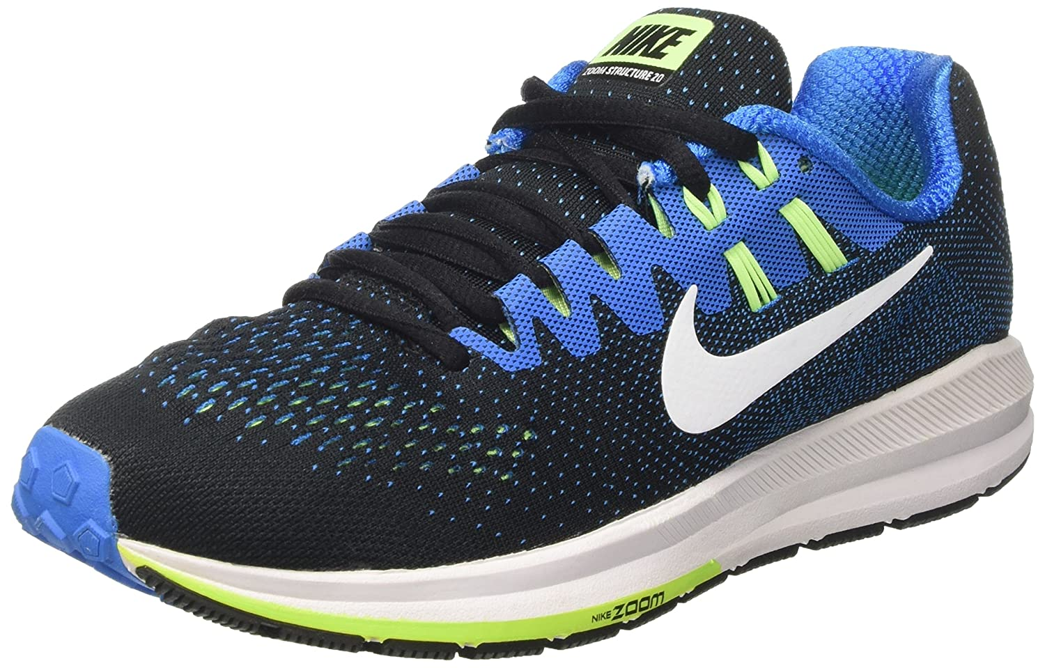 premium selection f0c82 77961 Amazon.com   Nike Mens Air Zoom Structure 20 Black White Photo Blue Running  Shoe 12 Men US   Road Running