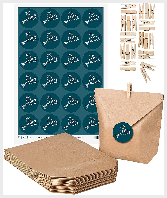 24 Aufkleber VIEL GL/ÜCK Sticker Kleeblatt Herzen schwarz wei/ß Give-Away Geschenk z Logbuch-Verlag 24 Papiert/üten gr/ün 9,5 x 14 cm Pr/üfung Silvester Neujahr Kraftpapier