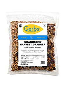 Gerbs Cranberry Harvest Granola, 2 LBS - Top 14 Food Allergy Free & NON GMO - Unsulfured & Preservative Free - Made in Rhode Island