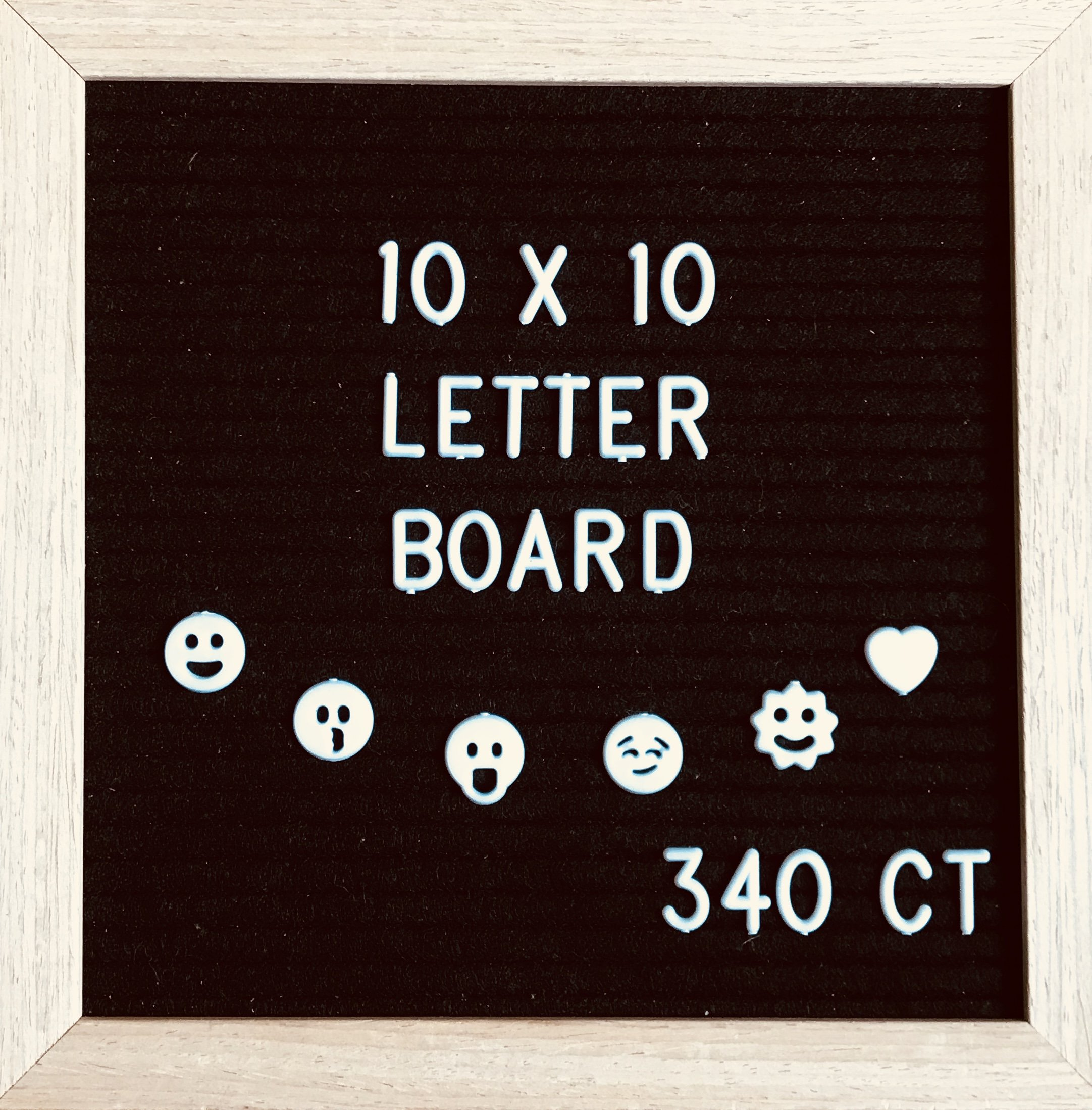 "Adjustable Felt Letter Board 10"" by 10"" with Oak Frame, 340 Letters with Symbols/Emojis + Canvas Bag, Wall Hanger and Scissors for Home Décor; Events; Parties; Office; School; Restaurants - BLACK"