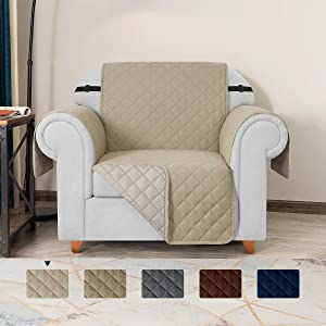 TOYABR Small Sofa Cover Reversible Couch Cover with Elastic Adjustable Strap Furniture Protector Fitted Seat Width Up to 23 Inch Sofa Slipcover Great for Home with Pets and Kids (Chair,Sand)