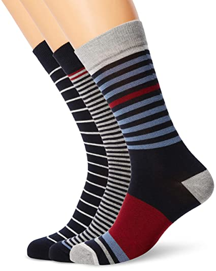 Ben Sherman Poolgrowran Calcetines Hombre, Multicolour (Navy/Red/Grey Marl/Parisian