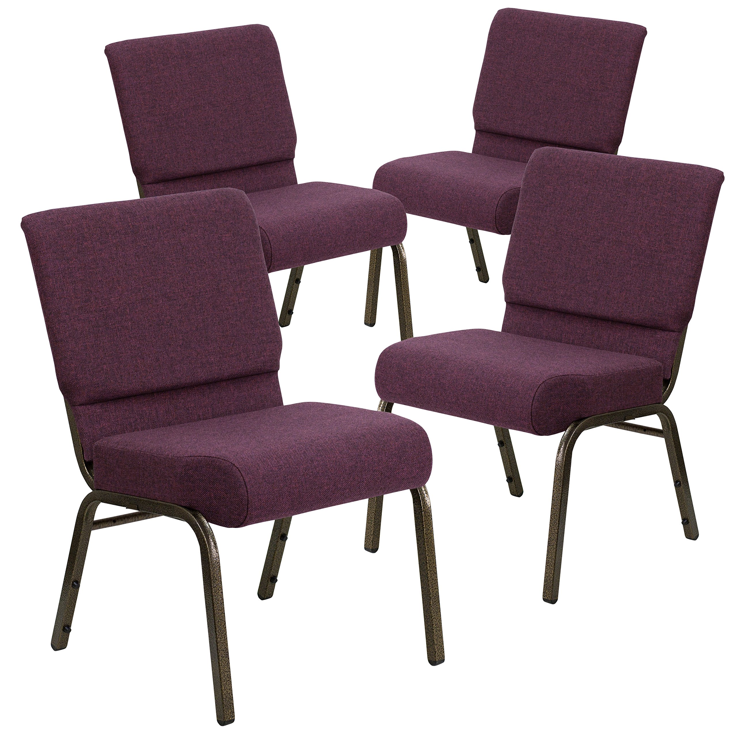 Flash Furniture 4 Pk. HERCULES Series 21''W Stacking Church Chair in Plum Fabric - Gold Vein Frame by Flash Furniture