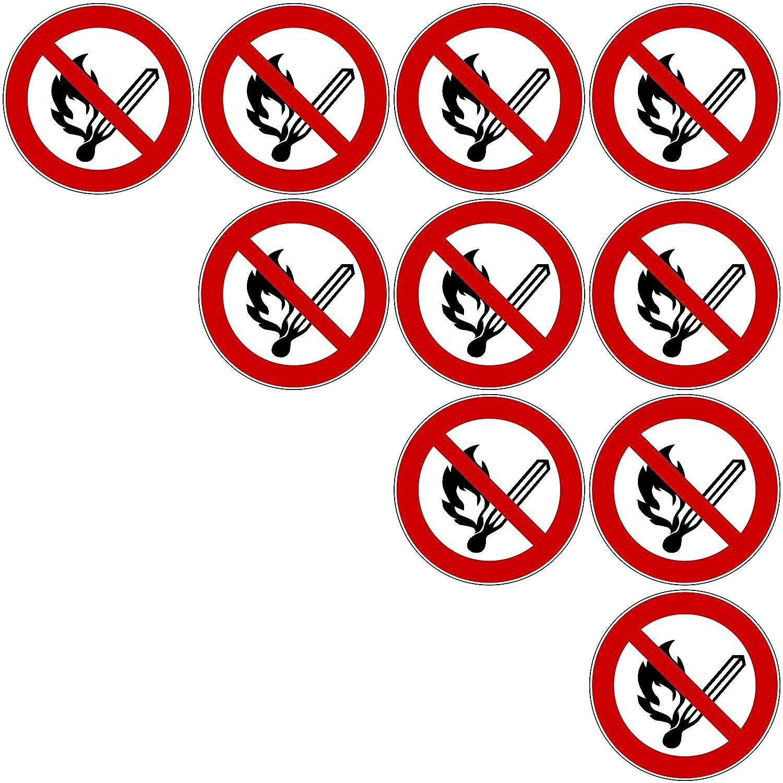 Feuer 10 Aufkleber Keine offene Flamme vorgestanzt selbstklebend Verbotszeichen Arbeitssicherheit Keine offene Flamme Feuer offene Z/ü offene Z/ündquelle und Rauchen verboten Aufkleber 10 St/ück keine offene Flamme Schild /überkleben