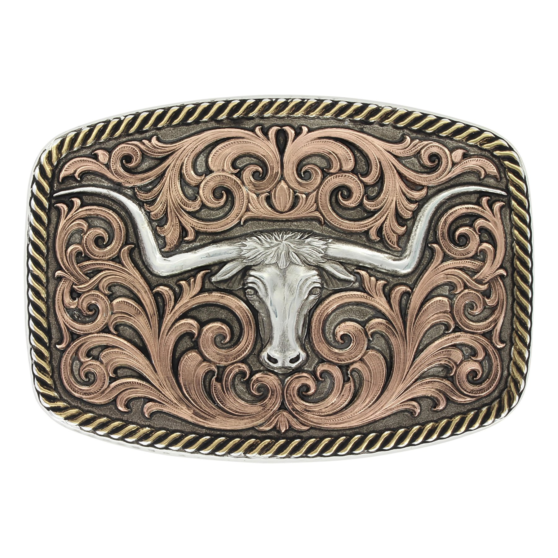 Montana Silversmiths Tri-Color Champion Texas Longhorn Buckle (33010TRI)