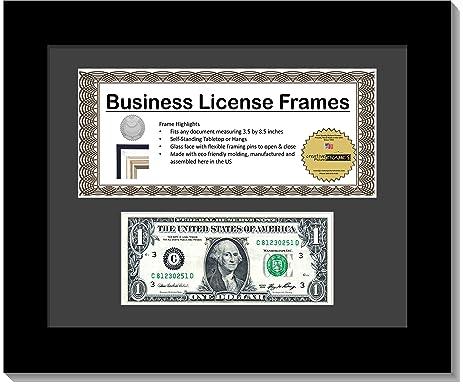 creativepf l85x11bk b black first dollar frame with business license - Dollar Frames