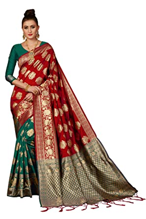 d696c81c19 Sweetiepie Fashion Red Half n half Banarasi silk woven saree with Blouse  Piece (LB-BNRS7-2003-GREEN-RED, Red): Amazon.in: Clothing & Accessories