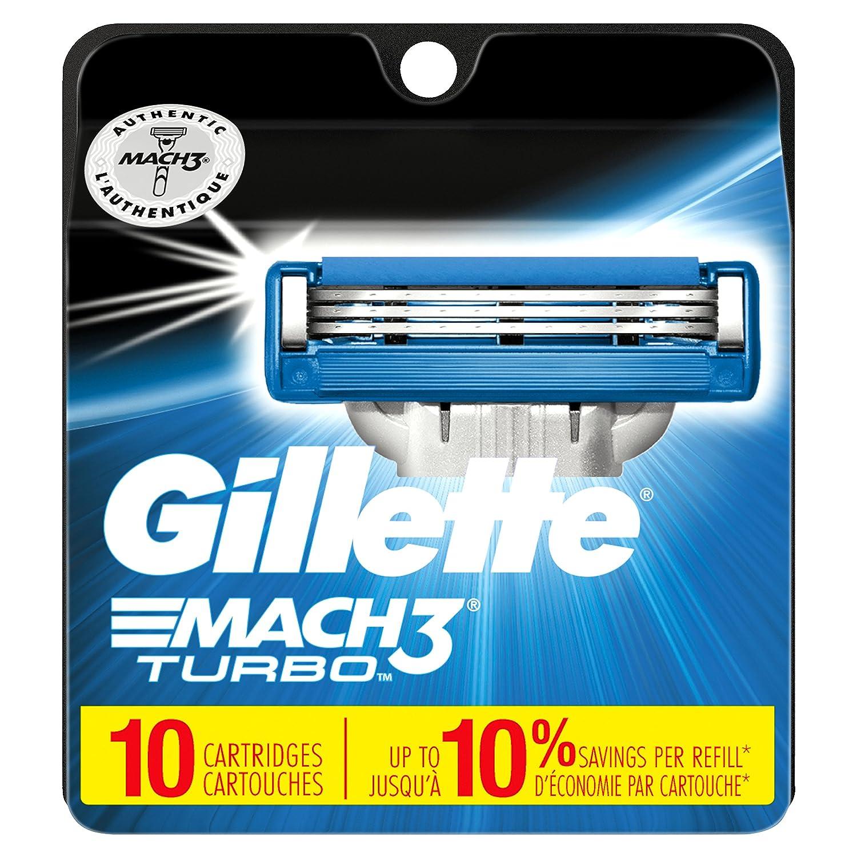 Gillette Mach3 Turbo Men's Razor Blades – 10 Refills (Packaging May Vary)