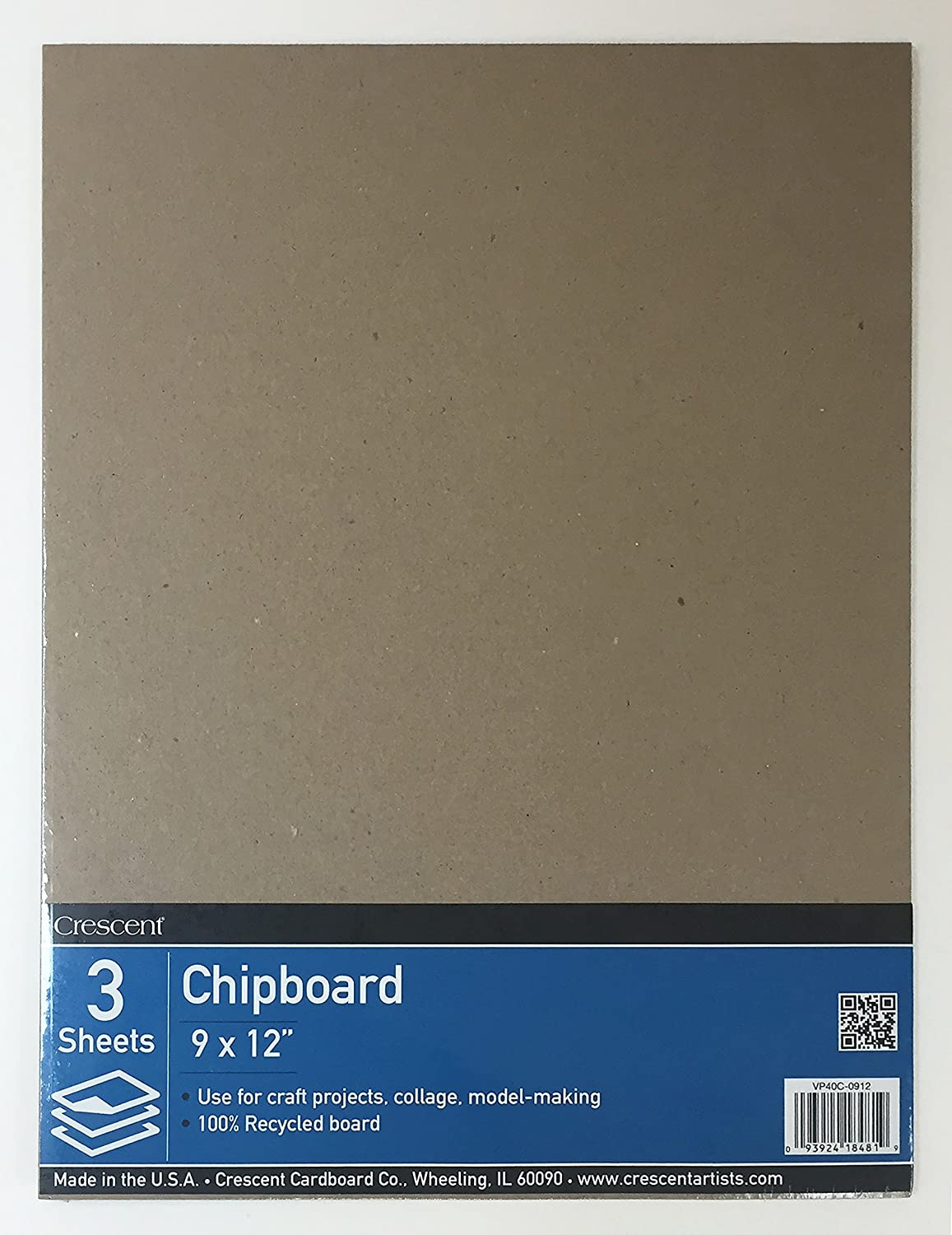 Crescent Cardboard Co Recycled Chipboard Value Pack -9-inch x 12-inch VP40C-0912