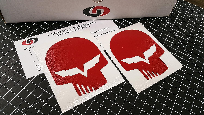 Amazon com corvette jake skull decal racing flag sticker ls1 ls6 ls2 ls3 ls7 lsx select color gloss red automotive