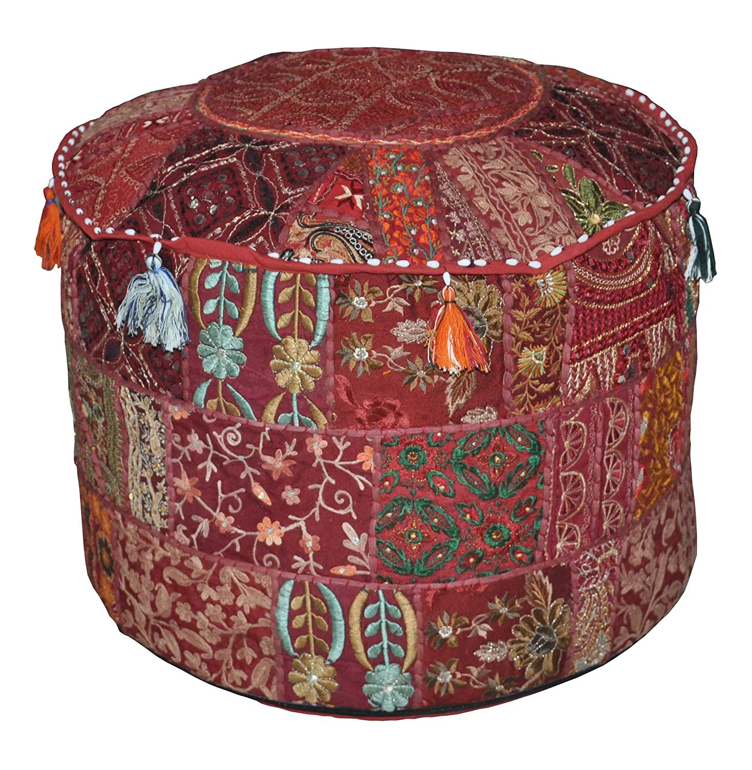 Rajasthali Indian Vintage Ottoman Embellished With Embroidery & Patchwork Foot Stool Floor Cushion, 46 X 33 Cm OTM10159