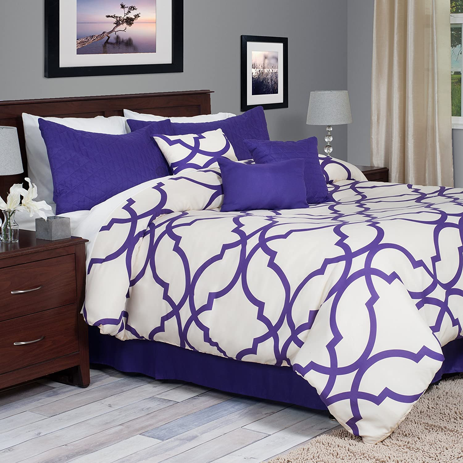 trellis kitchen set white reversible blue comforter home dp amazon floral scroll leaves com king embroidery pc silver