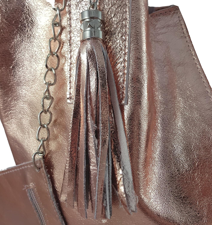 Freyday Damen Echtleder Shopper mit Schmucktasche in vielen Farben Schultertasche Henkeltasche Handtasche Metallic look Roségold Metallic